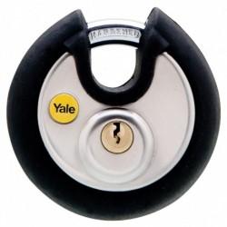Lacat rotund din otel inox Yale Y130/70/116/1, cu cheie, corp de 70 mm, argintiu
