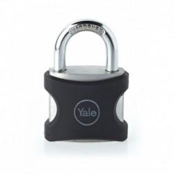 Lacat aluminiu culoare negru Yale YE3/25/112/1/BK, cu cheie, corp de 25mm