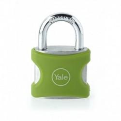 Lacat aluminiu culoare verde Yale YE3/25/112/1/G, cu cheie, corp de 25mm