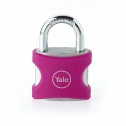Lacat aluminiu culoare roz Yale YE3/25/112/1/P, cu cheie, corp de 25mm