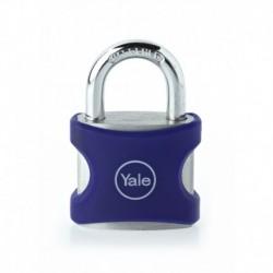 Lacat aluminiu culoare albastru Yale YE3/38/119/1/BL, cu cheie, corp de 38mm