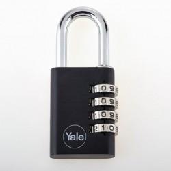 Lacat aluminiu culoare negru Yale YE3C/28/126/1/BK, cifru, corp de 28mm